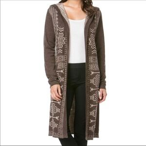 Monoreno long duster hooded Aztec print cardigan S